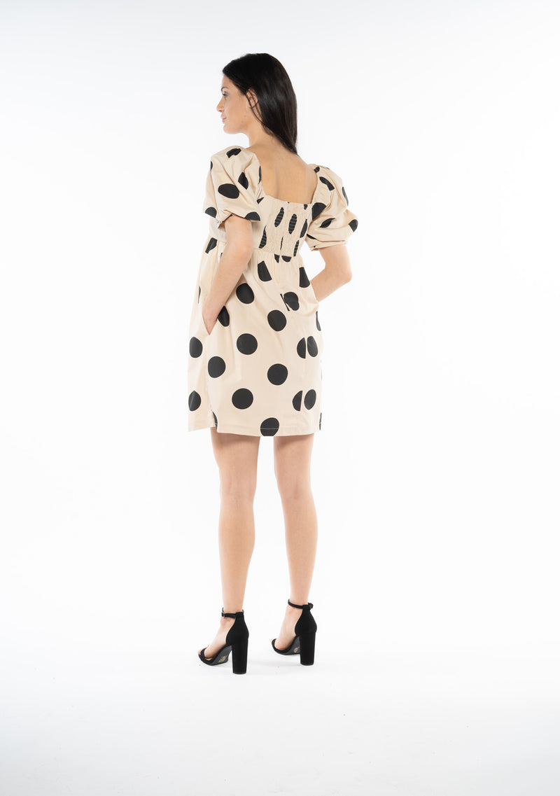 Polka Dot Puffy Sleeve Mini Dress