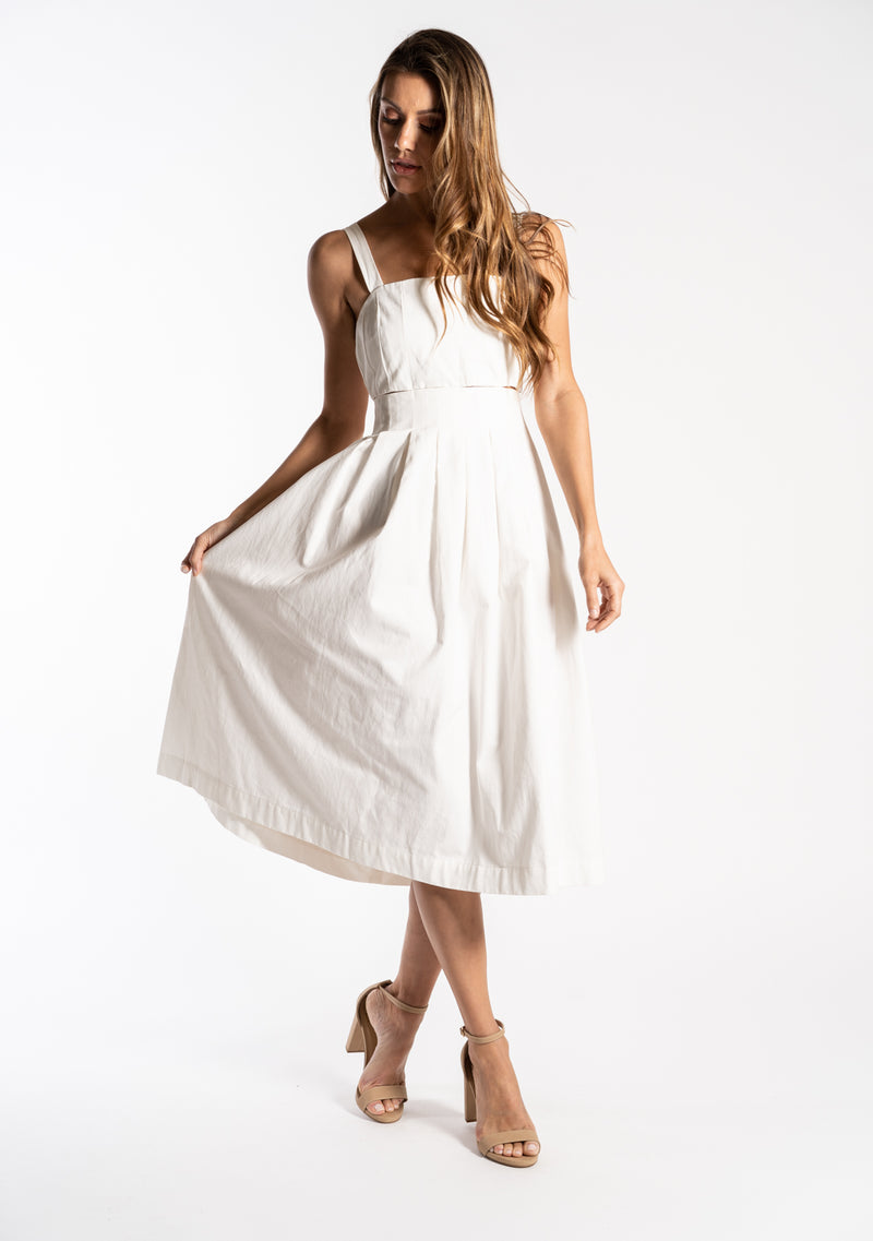 Pleated Midi Poplin Sun Dress