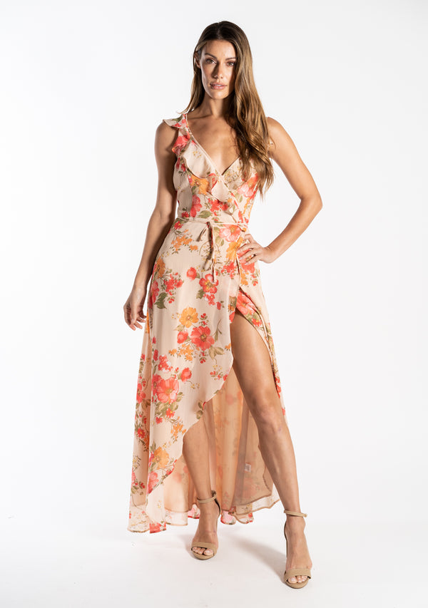 High-Low Floral Print Dress