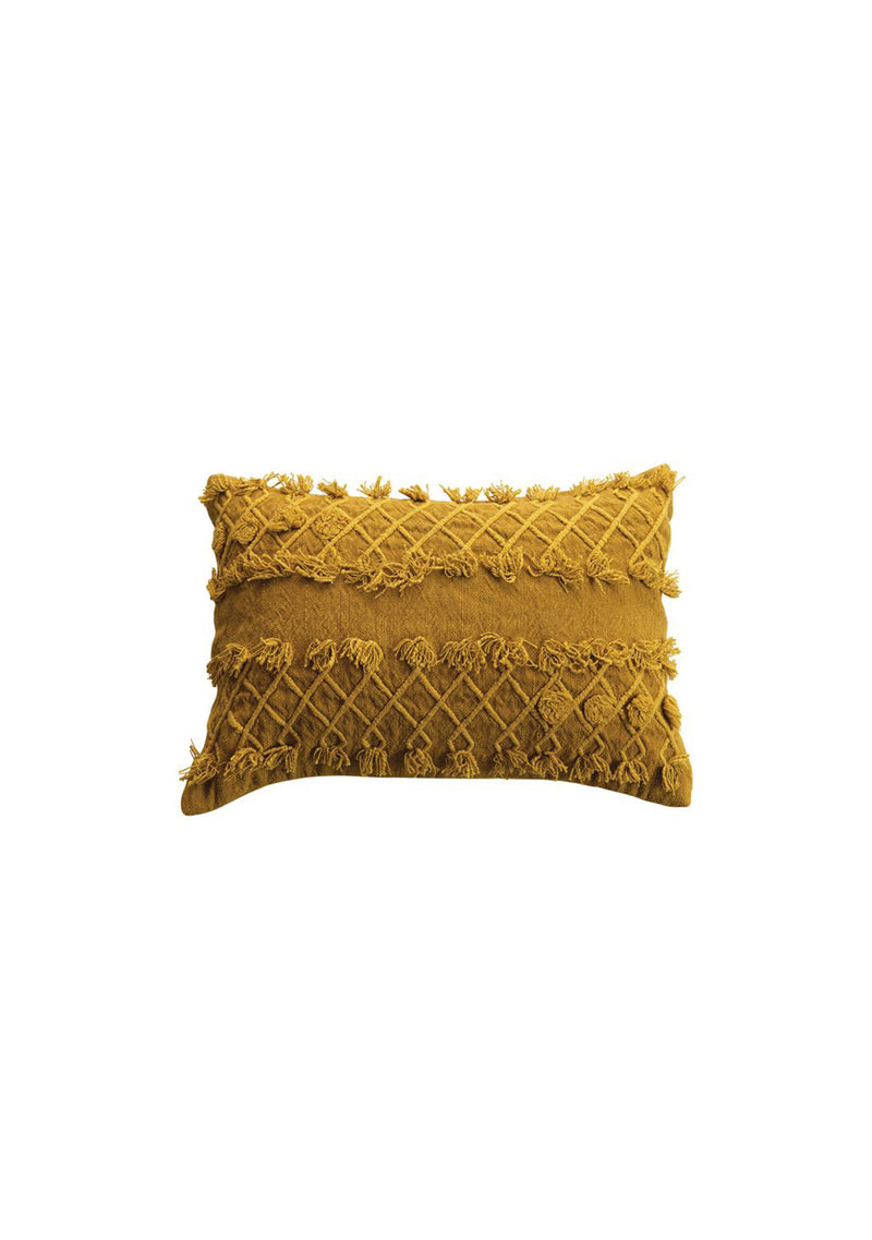 "24"" x 16"" Cotton Lumbar Pillow Gold"
