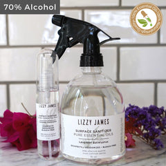 2 oz + 16 oz Surface Sanitizer Sprays - Lavender, Eucalyptus, Tea Tree Essential Oils