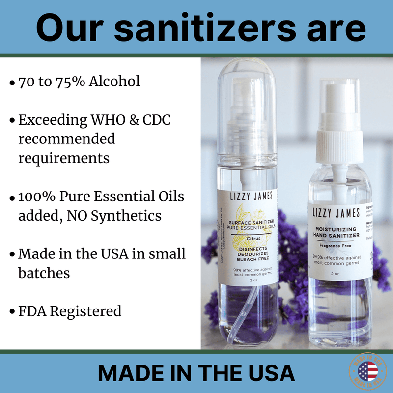 The benefits of our Sanitizers with 100% pure essential oils and up to 75% alcohol, for surfaces, air, hands, and laundry sanitizing