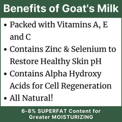 Benefits of Goat's Milk - Packed with Vitamins A, E and C Contains Zinc & Selenium to Restore Healthy Skin pH Contains Alpha Hydroxy Acids for Cell Regeneration All Natural!