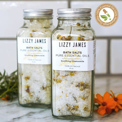 Chamomile Soothe Bath Salts bottles with essential oils