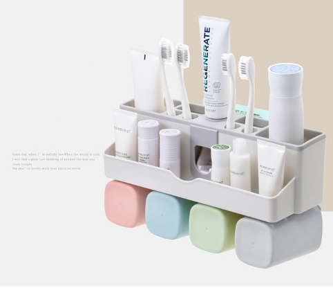 Stick-on-wall Waterproof Toothbrush Toothpaste Holder Multifunctional