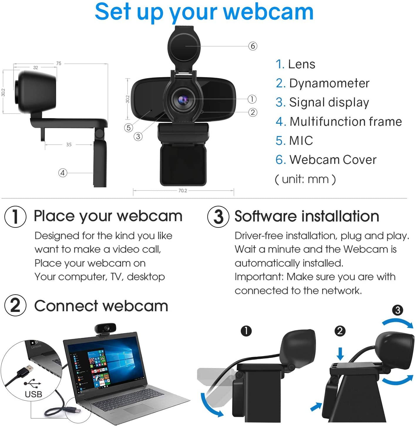USB Camera, HD Webcam, Business Webcam, W2-pro