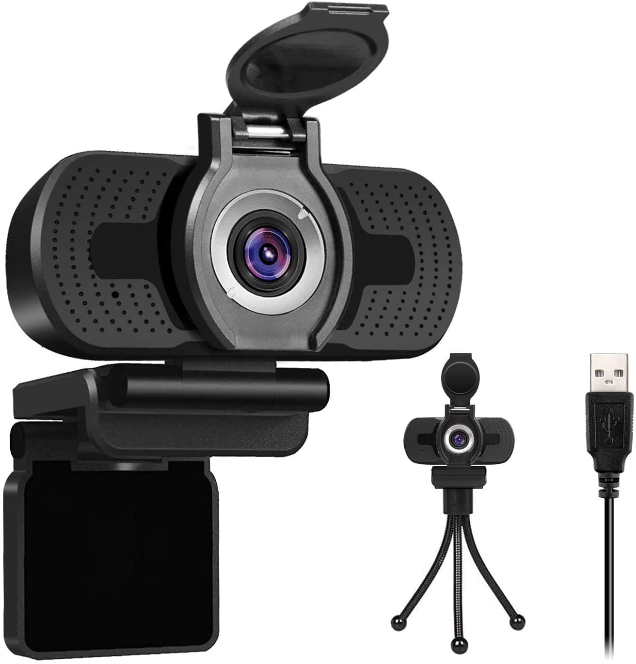 1080P Full HD Webcam with Webcam Cover, W2