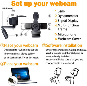 Computer Webcam 1080p with Webcam Cover,LarmTek PC Laptop Camera Built-in Microphone,Widescreen Video Calling and Recording Support for Conference, W3