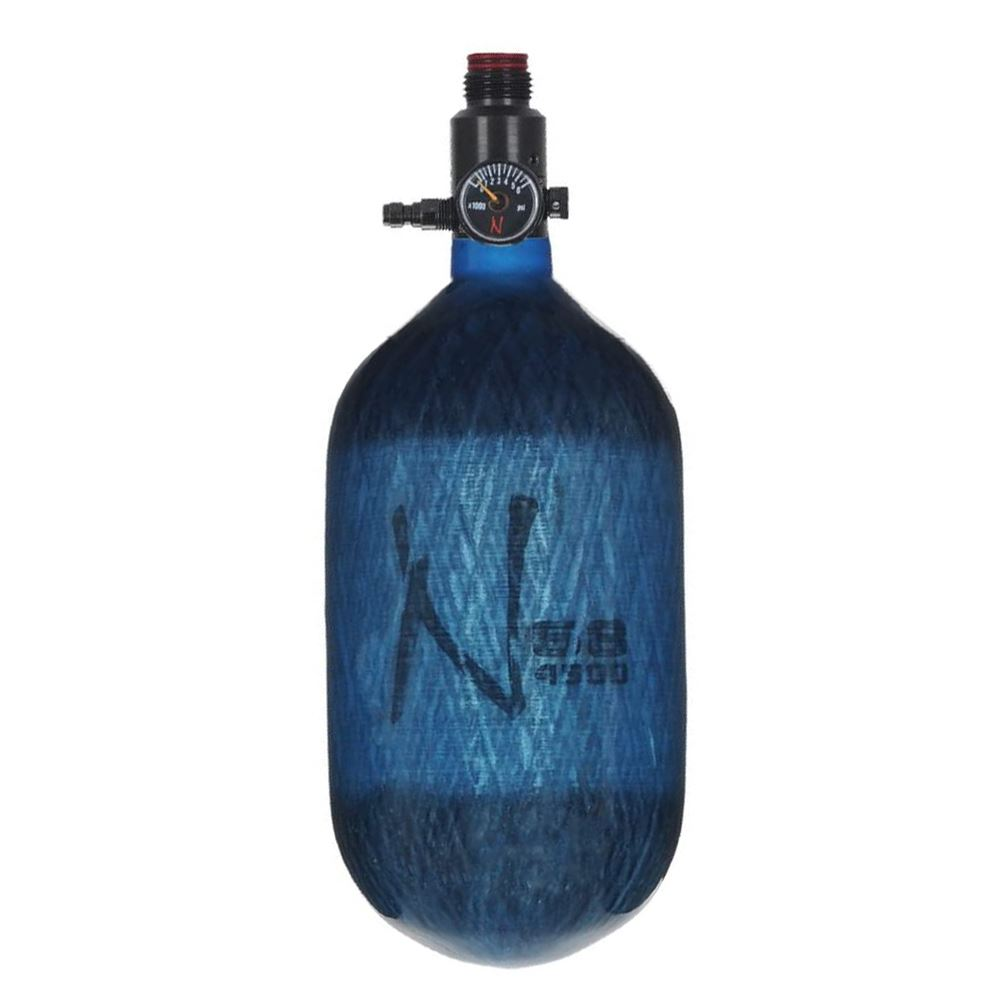 Ninja Paintball LITE TRANSLUCENT 68/4500 Carbon Fiber Compressed Air HPA Paintball Tank - Blue