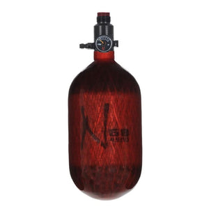 Ninja Paintball LITE TRANSLUCENT 68/4500 Carbon Fiber Compressed Air HPA Paintball Tank - Red