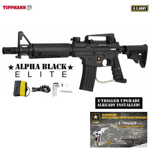 Tippmann U.S. Army Alpha Black Elite Tactical w/ E-Grip Paintball Gun - Black - T106013