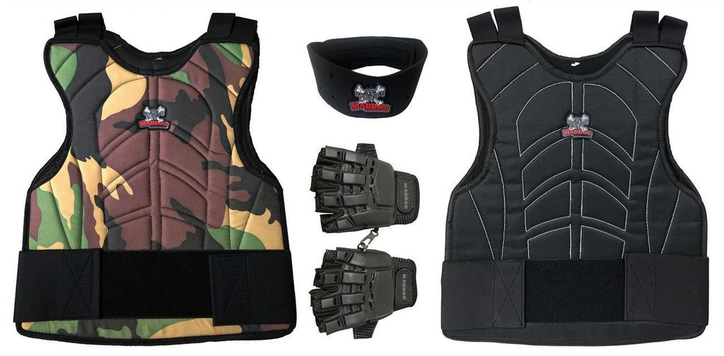 Padded Paintball & Airsoft Chest Protector, Half Glove, & Neck Protector Package