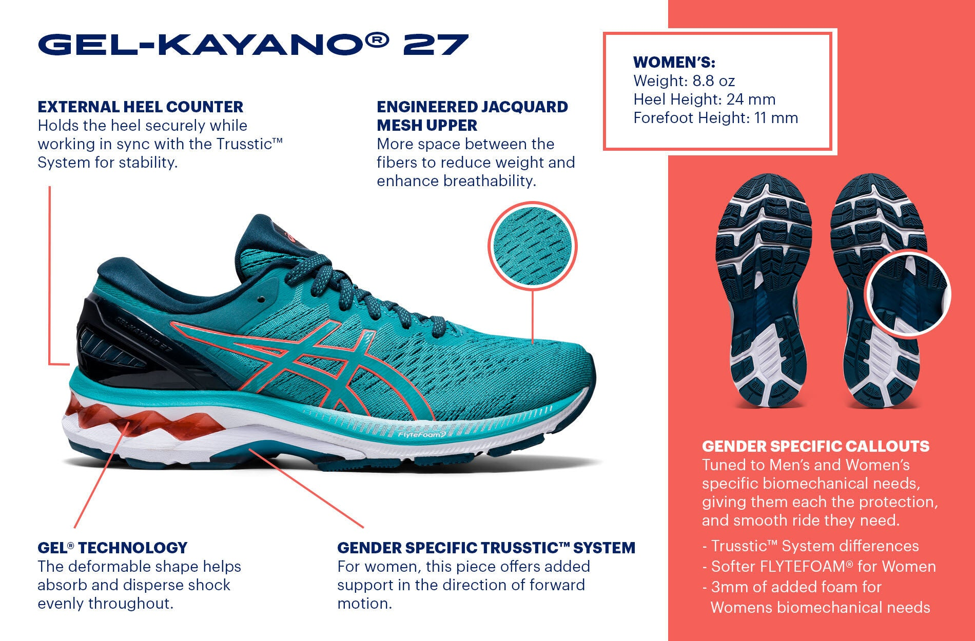 GEL-KAYANO 27 WOMEN (TECHNO CYAN/SUNRISE) - Asics