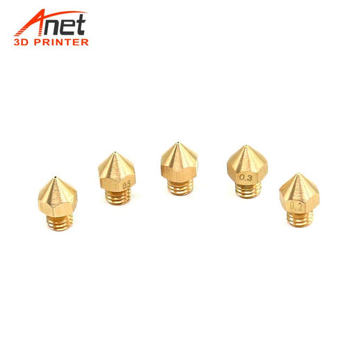 2PCS 0.2mm/ 0.3mm/ 0.4mm/ 0.5mm/ 0.6mm Nozzles for 3D Printer MK8 Extruder Head - anet3d.es