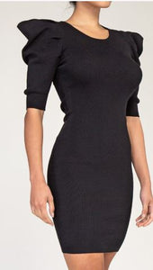 Power Shoulder Midi Dress