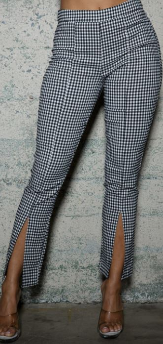 Fitted Checker Slit Pant
