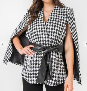 Houndstooth Cape Jacket