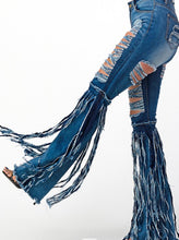 Load image into Gallery viewer, Fringe Flare Denim Jeans