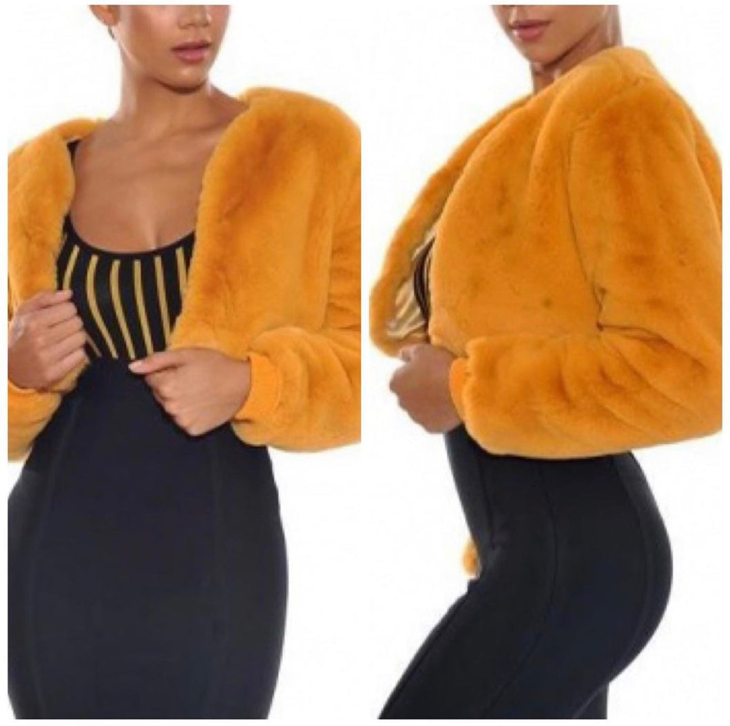 Faux Fur waist jacket