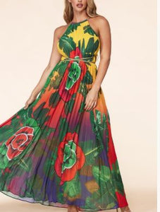 Floral Pleated Maxi