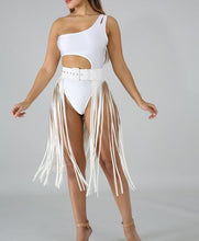 Load image into Gallery viewer, Leather Fringe Skirt Belt