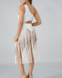 Leather Fringe Skirt Belt