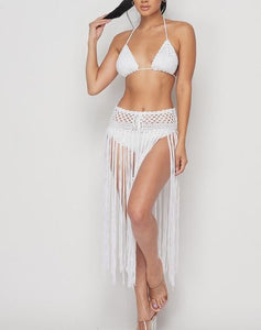 Crochet Fringe Swimsuit/Skirtset