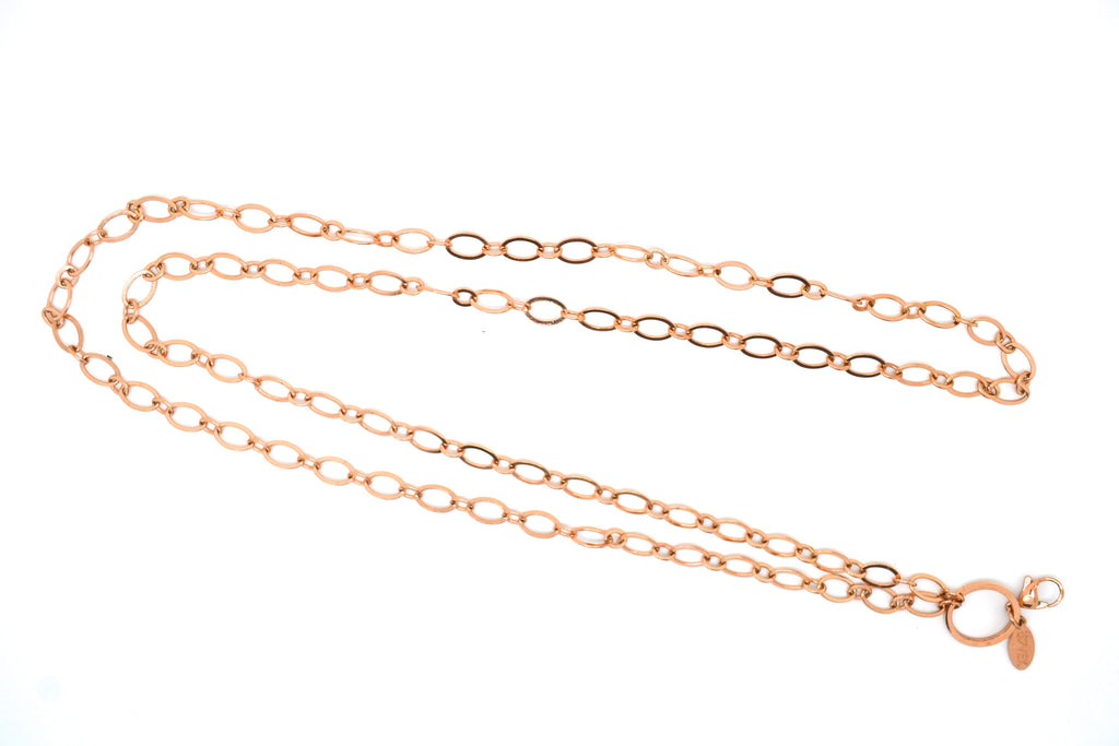 "32"" Rose Gold Flat Oval Link Chain"