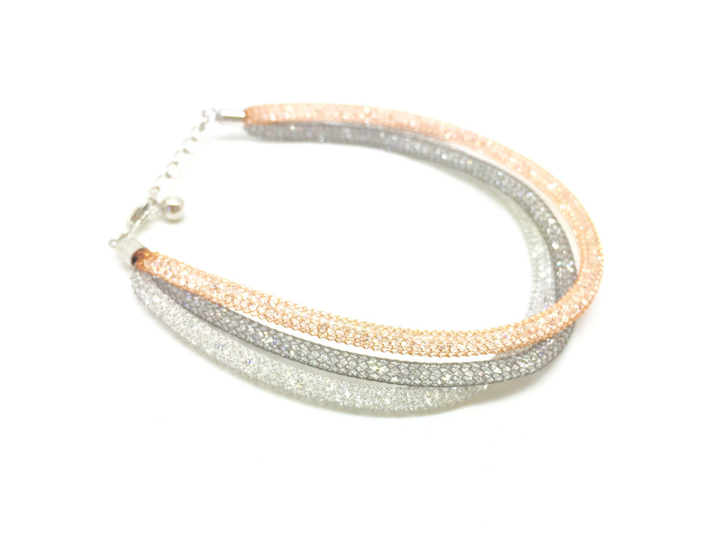 Triple Multi Crystal Mesh Bracelet