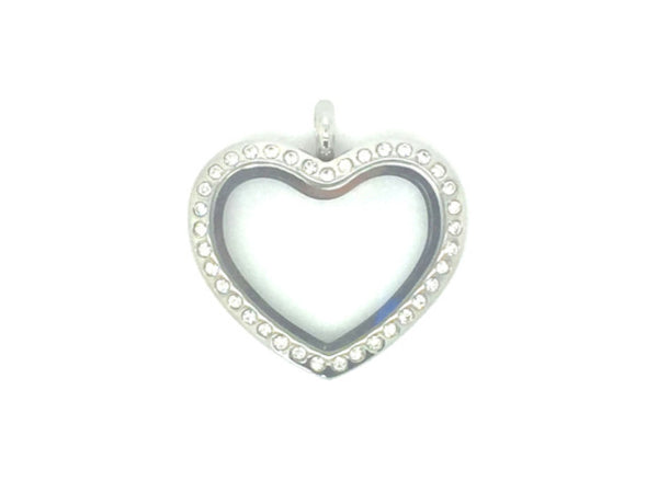 Bubble Heart Locket with Crystals