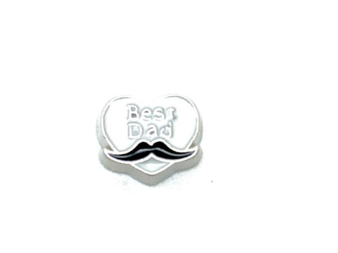 Best Dad Moustache Floating Charm