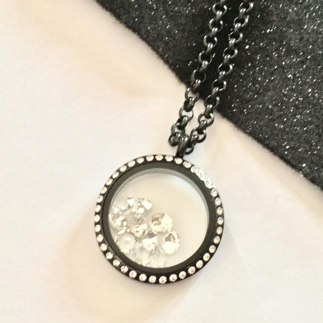 Large Black Face Crystal Locket