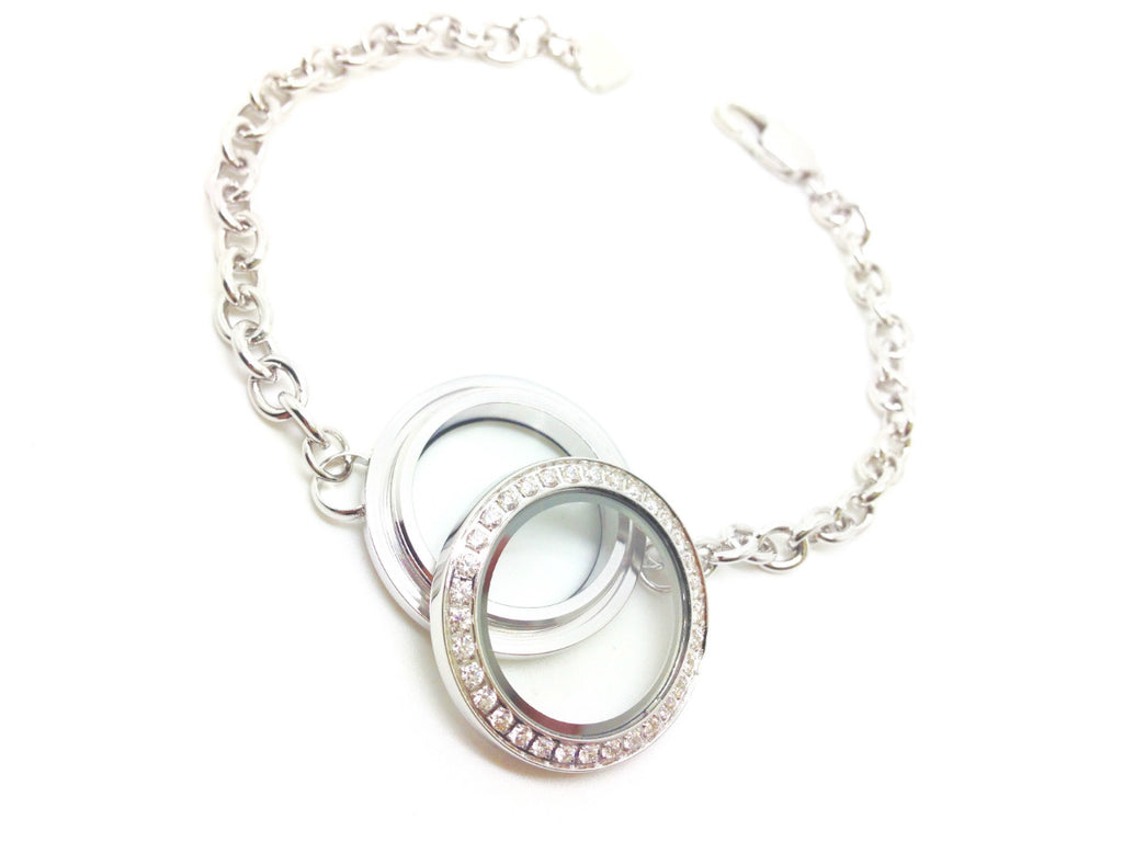 Crystal Silver Locket Bracelet