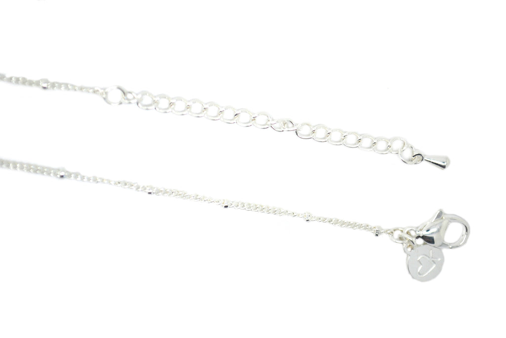 "18-20"" Silver Fine Ball Station Chain"