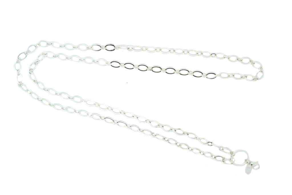 "32"" Silver Flat Oval Link Chain"
