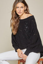 Load image into Gallery viewer, Oversized Black Scallop Hem Sweater