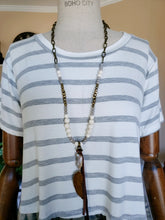 Load image into Gallery viewer, Striped-Camo Color Block Short-Sleeve Top