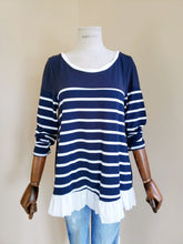Load image into Gallery viewer, Stripe Long Sleeve Ruffle Top with Bow Tie