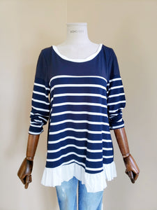 Stripe Long Sleeve Ruffle Top with Bow Tie