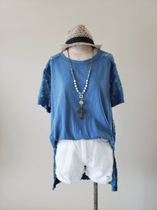 Loose Lace Back Short Sleeve Top
