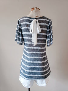 Stripe Kitted Top with Crochet Detail