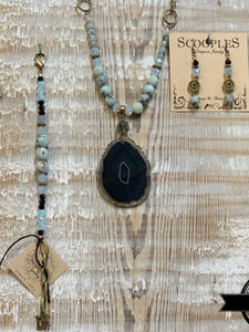 Aqua Black Agate Necklace