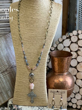 Load image into Gallery viewer, Blush Labradorite Cross Necklace