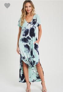Tie-Dye Short-Sleeve V-Neck Maxi Dress