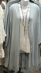 Light Knit Mix Fabric Duster Cardigan