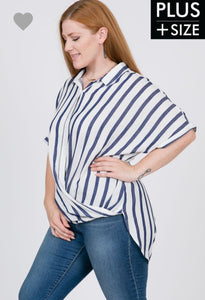 [Plus] High Low Stripe Button Down Shirt