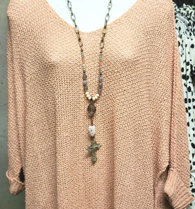 Blush Labradorite Cross Necklace