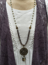 Load image into Gallery viewer, Smoky Pearl Medallion Necklace