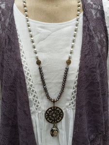 Smoky Pearl Medallion Necklace