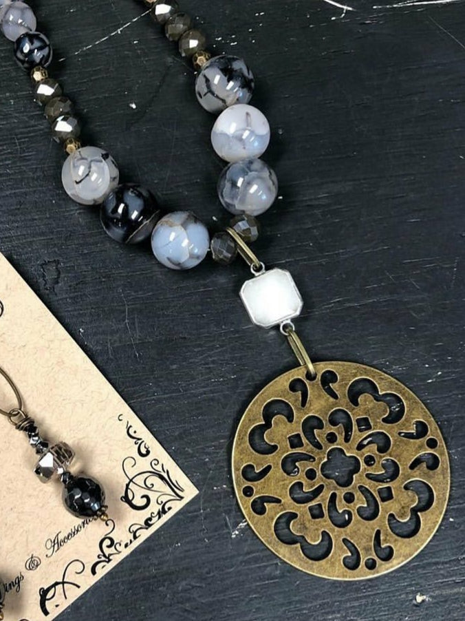 Gray Marble Medallion Necklace